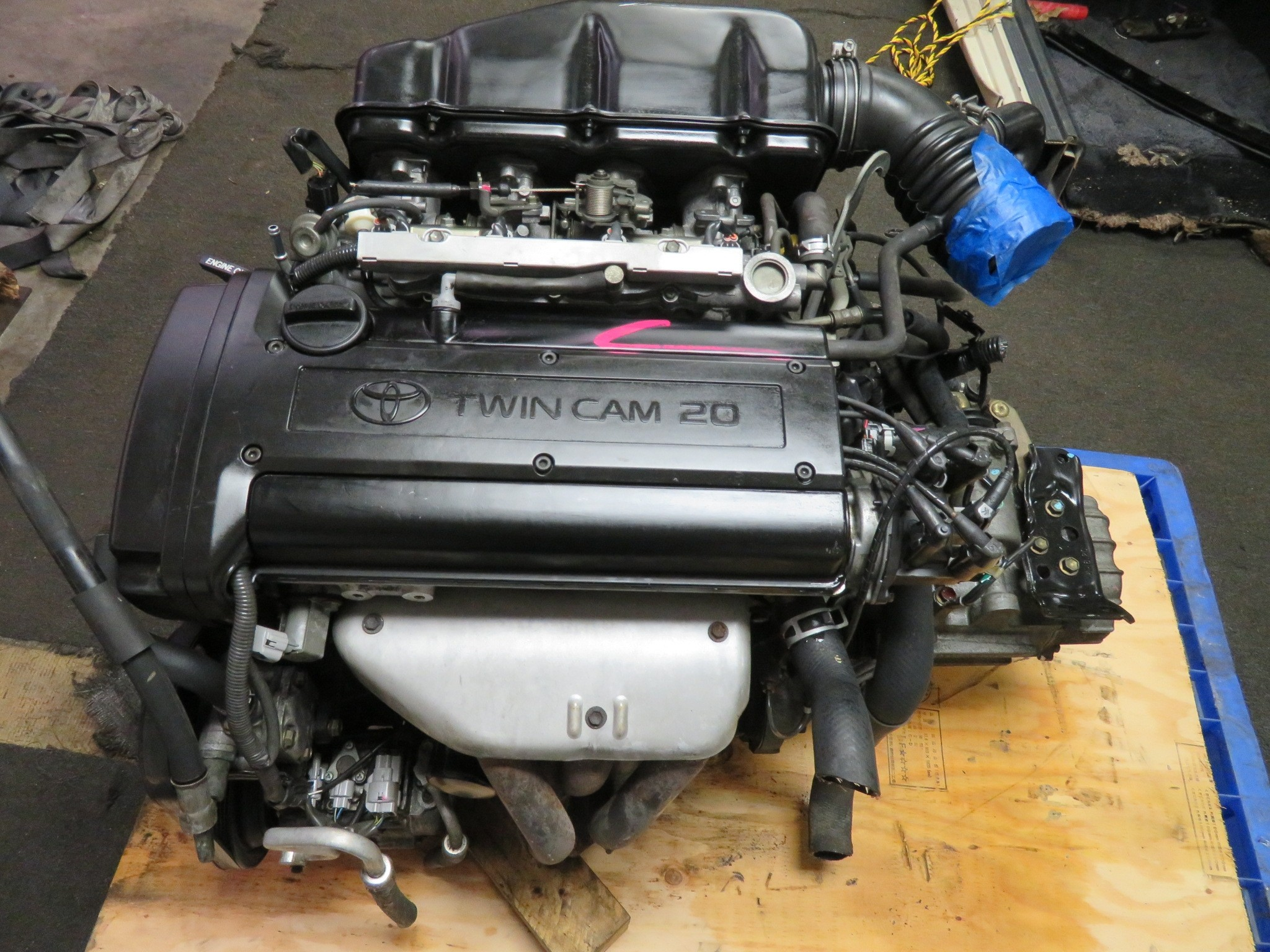 JDM TOYOTA COROLLA LEVIN 4AGE BLACKTOP TWIN CAM 20 VALVE ENGINE, 5 SPEED TRANSMISSION